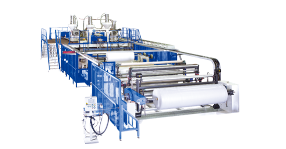 2.5M wide ,3-layer Air Bubble Film Extrusion Line(With 2 Unwinders)